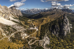 [Looking over the Passo Falzarego from the summit of Sass di Stria.  © James Rushforth]