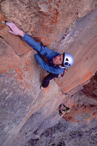 Author on first ascent of Brew up Audrey, the Temple, Mt Kenya , 42 kb