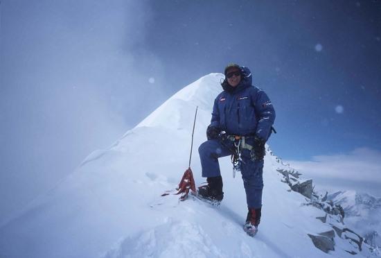 Al Hinkes on the summit of Annapurna, 33 kb