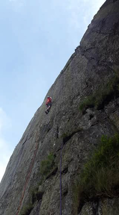 Caff on the first ascent of The Cumbrian Face, 130 kb