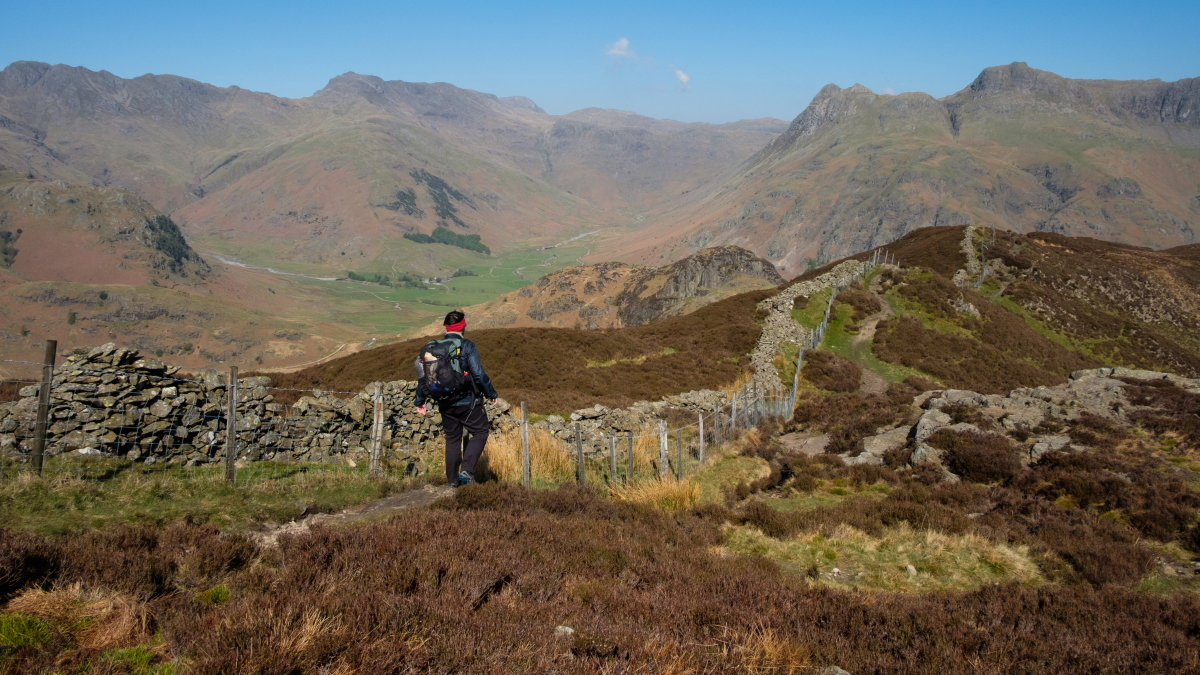 Langdale's skyline is well seen from Lingmoor Fell - Crinkle Crags, Bowfell and the Langdale Pikes, 216 kb