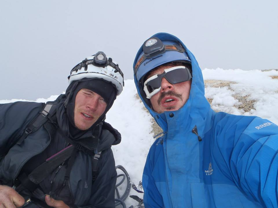 Pete and Ben on top of Fitzroy after climbing the North Pillar., 53 kb