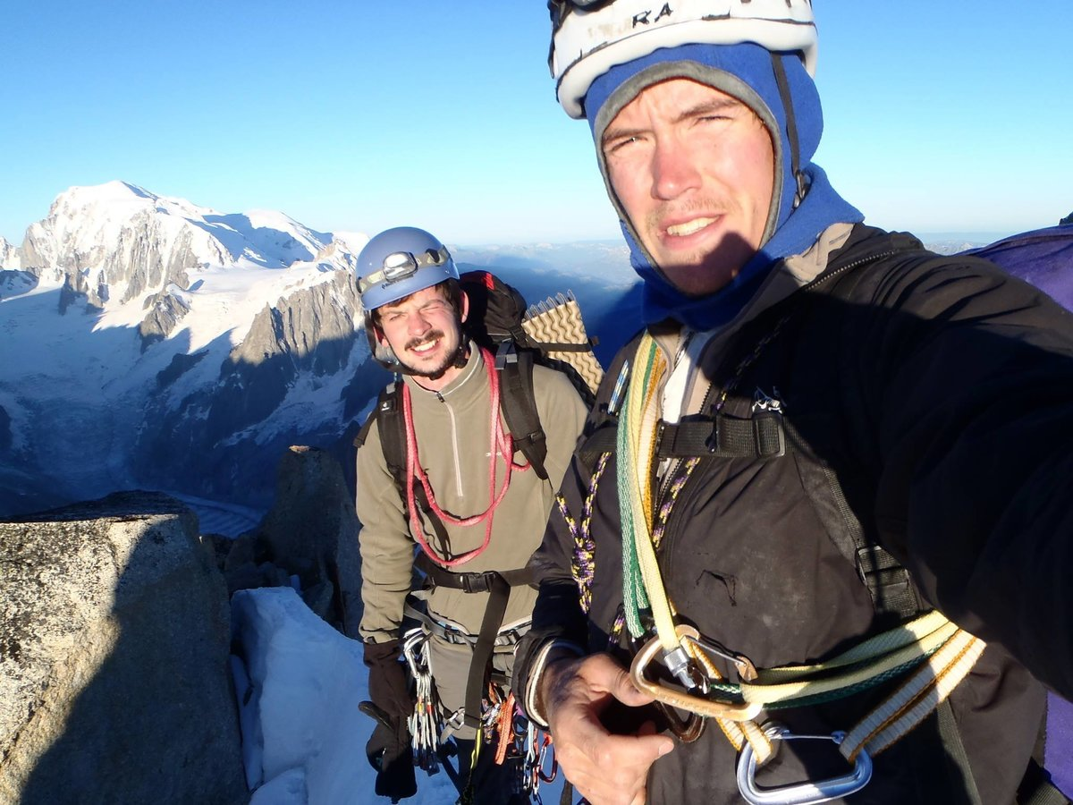 Pete and Ben at the top of the Droites after climbing the Messner Pillar. Ben's first alpine route., 181 kb