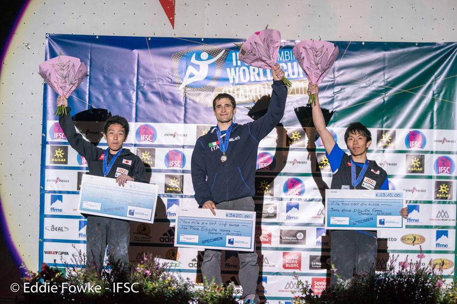 Men's podium: Korenaga, Bombardi, Hada, 153 kb