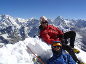 Kevin Thaw and Abbey Watkins at the summit of Cholatse, 6440m, 43 kb