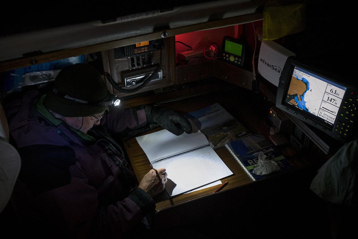 Bob on skipper's duties below deck, 140 kb