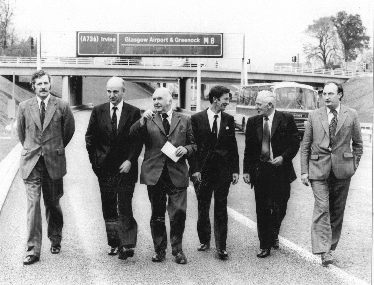 John (far left) at the opening of the Renfrew M8 in 1976, 206 kb