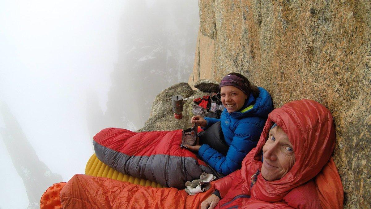 Nina and Arnaud bivvying on the Grand Capucin, 158 kb