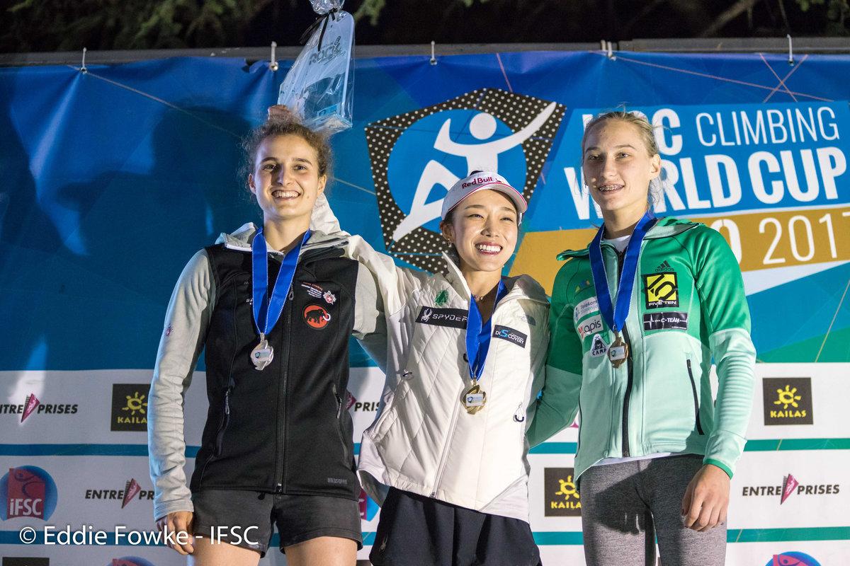 Women's podium: Koller, Kim, Garnbret, 239 kb