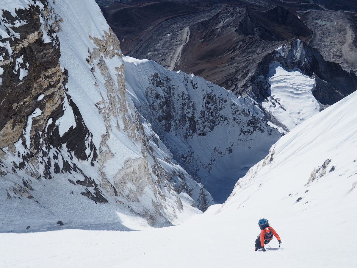 Day 5. Fred soloing a section of the big ice couloir. © UKC News