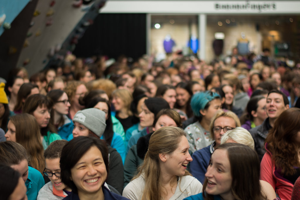 A buzzing audience of 400 women at the 2017 Women's Climbing Symposium © UKC News