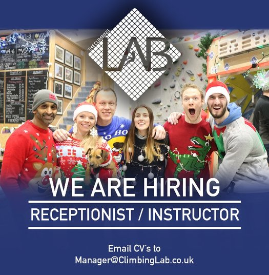 Climbing Lab : Front of House / Instructor, Recruitment Premier Post, 1 weeks @ GBP 75pw, 76 kb