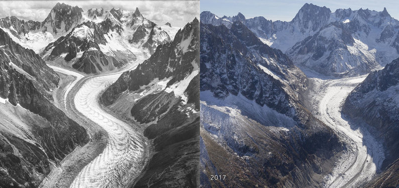 UKC Articles  ARTICLE  100 Year TimeLapse of the Mer de Glace