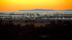 [Sunrise and The Grampians from Arapiles. © Karl Bromelow]
