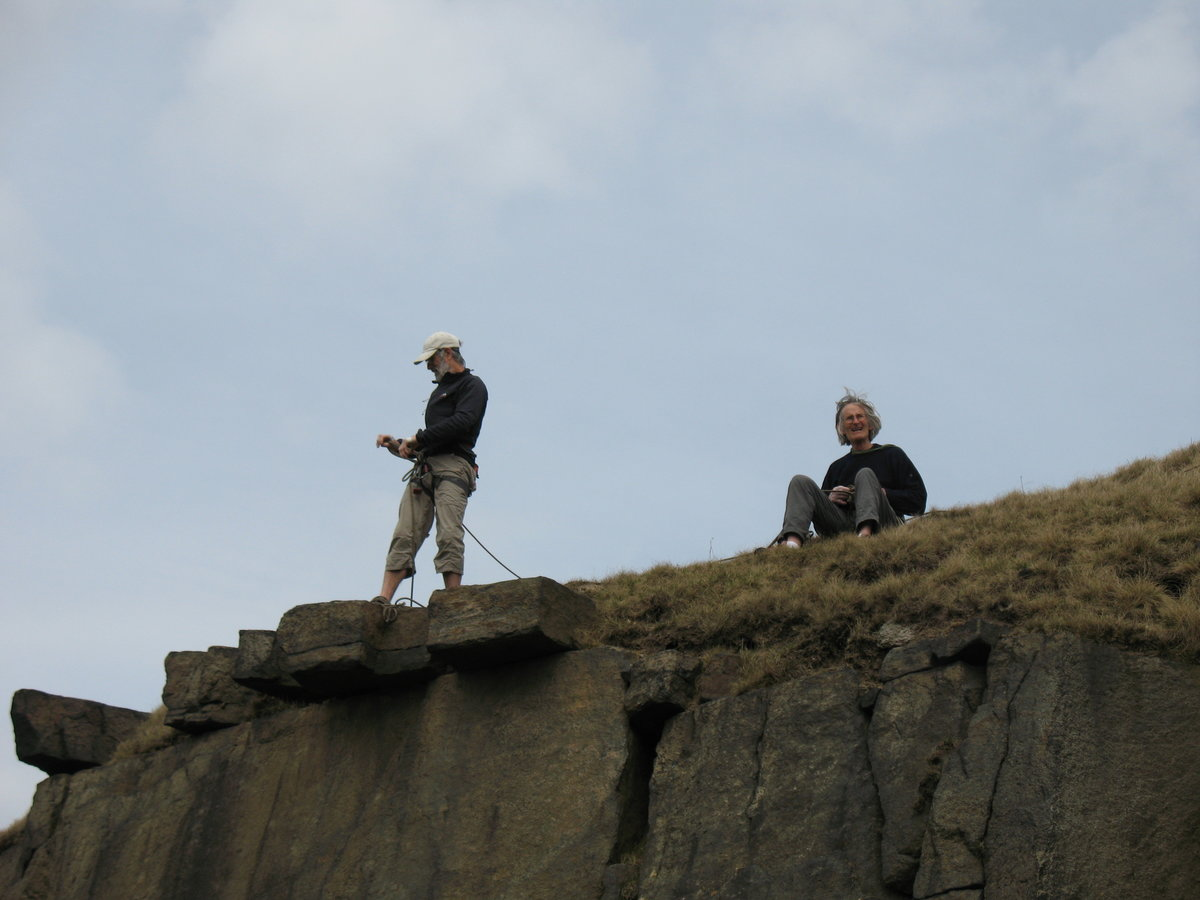 Rab and Martin at the top of Spanner Wall, Running Hill Pits. © UKC Articles