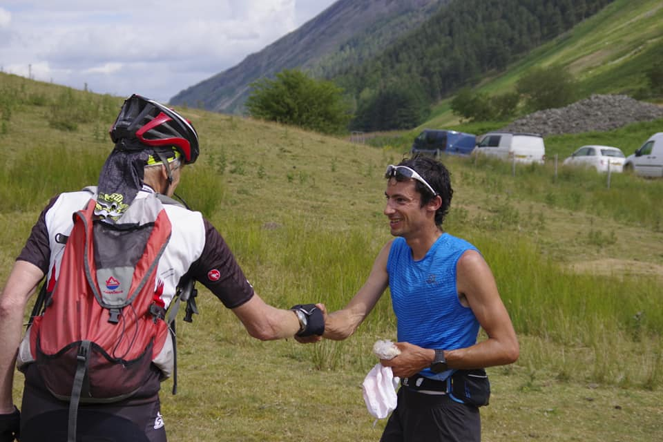 Billy Bland, record holder for 35 years, greets Jornet at Dunmail © UKC News