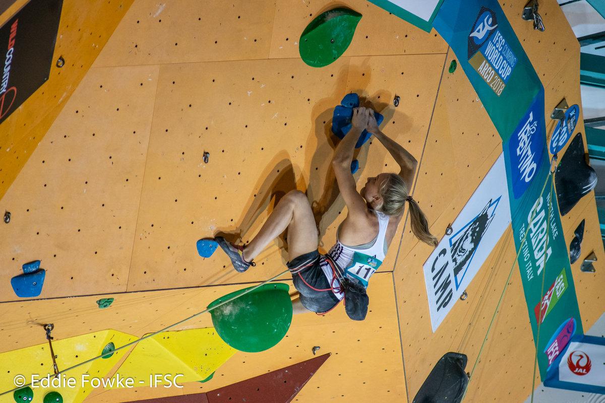Janja Garnbret on the tricky women\'s final route. © UKC News
