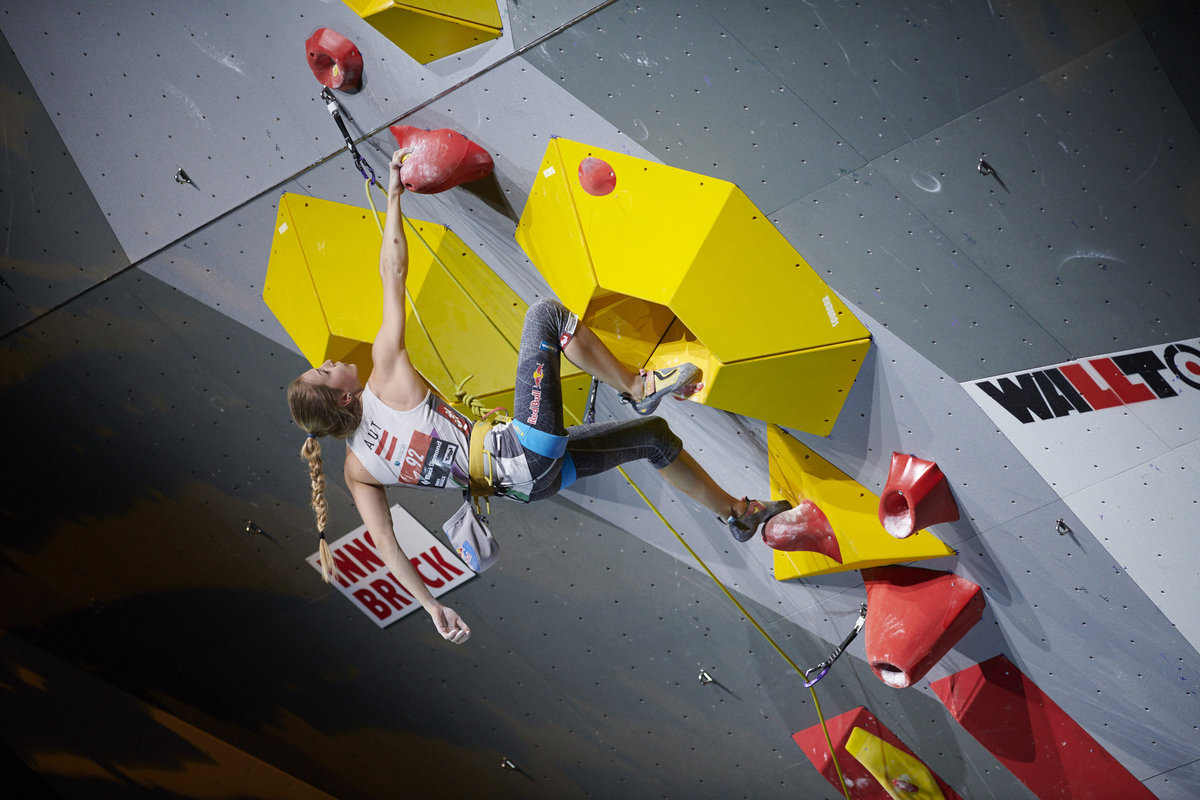 Jessica Pilz (AUT) climbing in front of a home crowd in Innsbruck. © UKC News