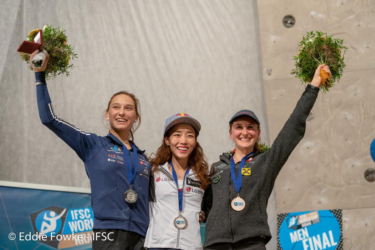 Women\'s podium: Garnbret, Kim, Schubert. © UKC News