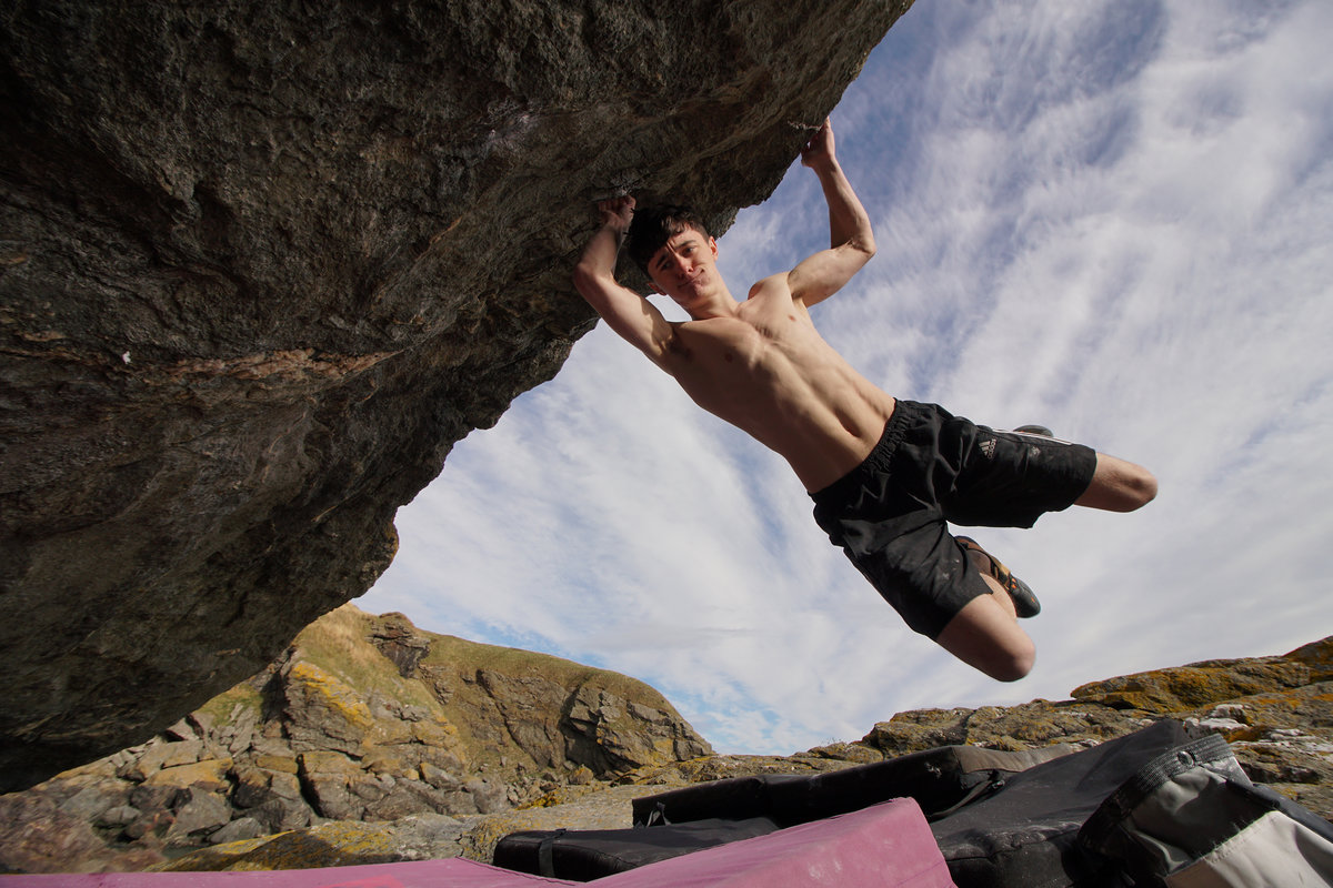 Max Milne on his hardest climb to date \'Lord Farquhar\' © UKC News