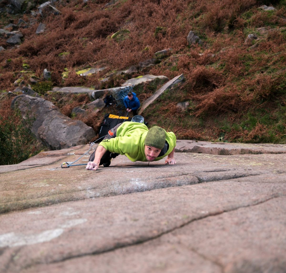 """Pete Bridgwood crimping hard on the thin and technical """"judge dread"""" at the secluded Nth Cloud © PeteWilson"""