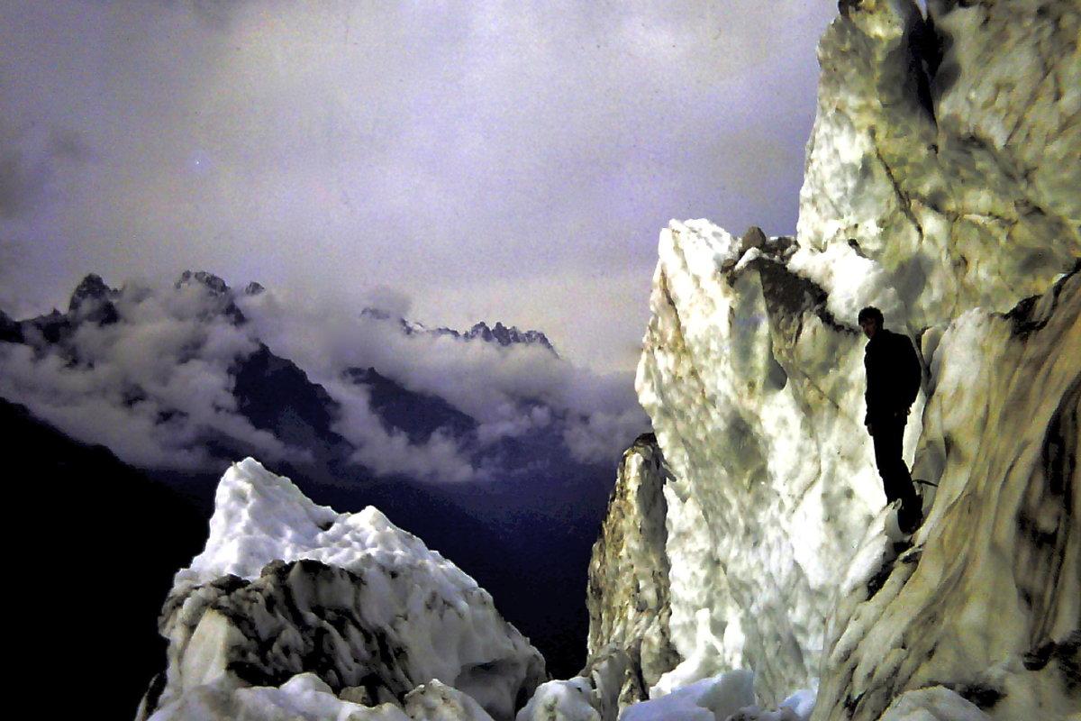 Paul C Bennett on the Bossons Glacier. Chamonix 1968 © Paul C Bennett