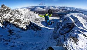 [Base jumping off the Great Prow on Bla Bheinn © Hamish Frost]