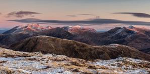 [Dawn over the Nevis range from Am Bodach. © Garry Robertson]