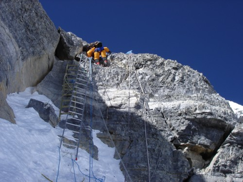 Second step on Everest north ridge, 58 kb