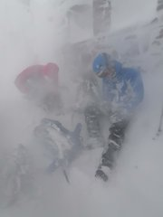 """[Finding """"shelter"""" at the CIC hut after our climb (Italian Route RH variation) just as the winds really picked up © makower-t]"""