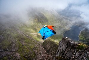 [Tim Howell completes the UK's first ever mountain wingsuit BASE jump © Hamish Frost]