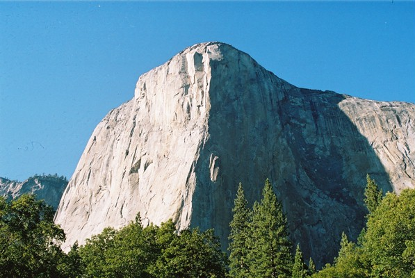 El Capitan. The Nose (3000ft) follows the line of shadow in the centre, 80 kb