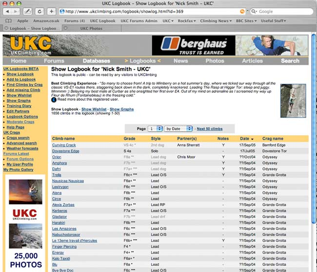 A screen shot of the new Logbook section of the site, 67 kb