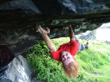 Dave MacLeod on Pressure, Dumbarton Rock, 85 kb