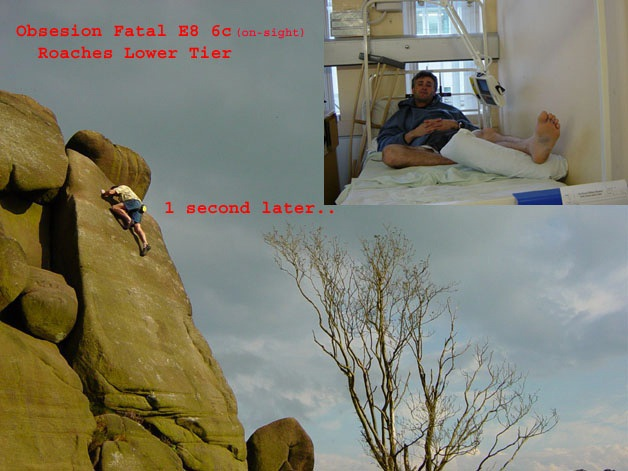 Kevin Thaw before and after his onsight attempt on Obsession Fatale (E8 6c), Roaches Lower Tier, 82 kb