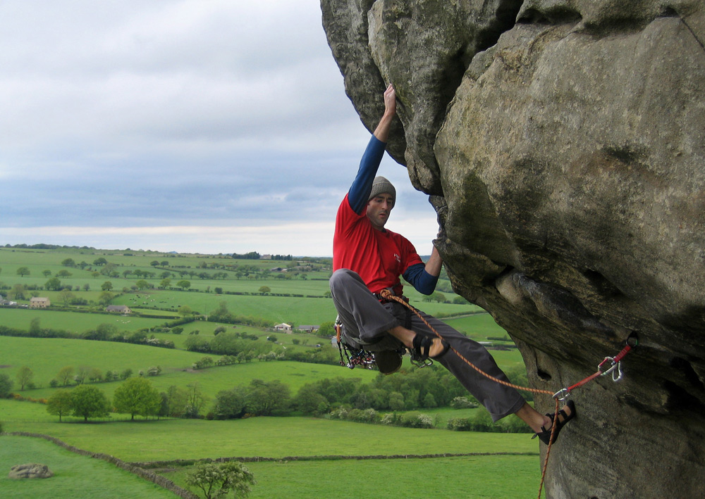 Ali concentrating on Western Front (E3 5c), Almscliff, Yorkshire, 239 kb