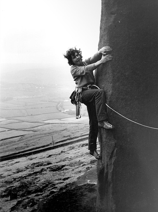 John Syrett making the first ascent of Problem Rib, Earl Crag, Yorkshire, c. June 1970?, 96 kb