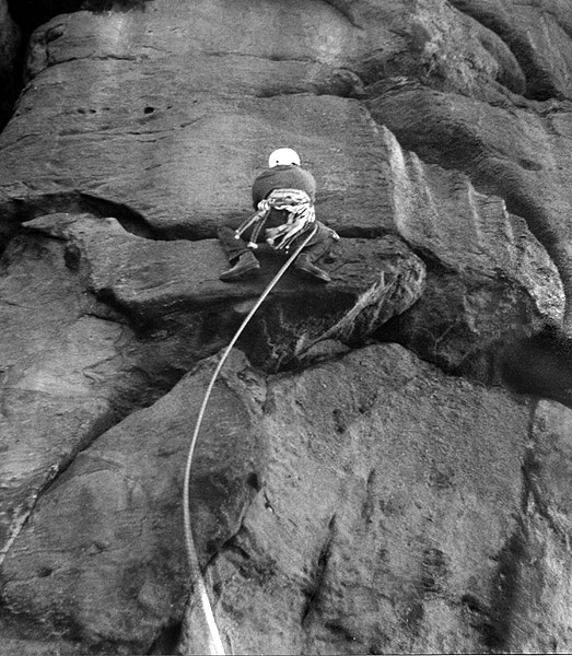 John Syrett making the ?first on-sight lead of Wall of Horrors (E3 6a), Almscliff, in a howling gale in November 1970., 120 kb