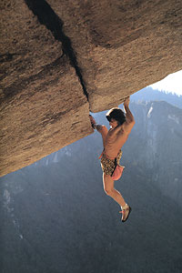 Wolfgang Güllich on the first solo ascent of Seperate Reality 5.11d, Yosemite, 17 kb
