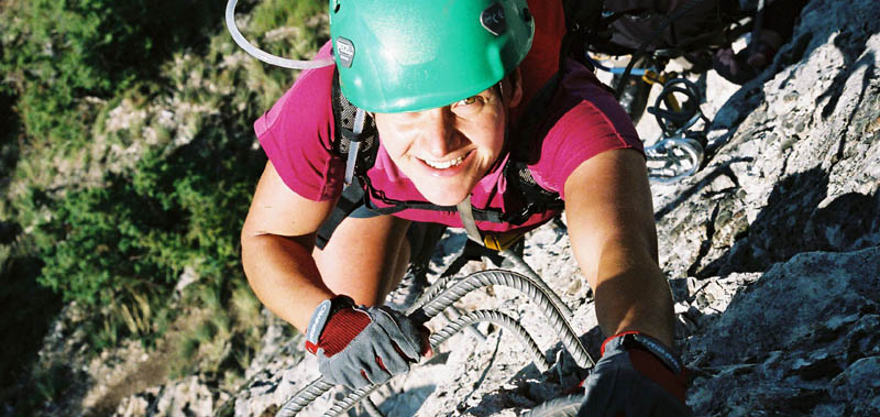 Lynn enjoying the sport on via ferrata du Belvedere, Nax, Switzerland, 92 kb