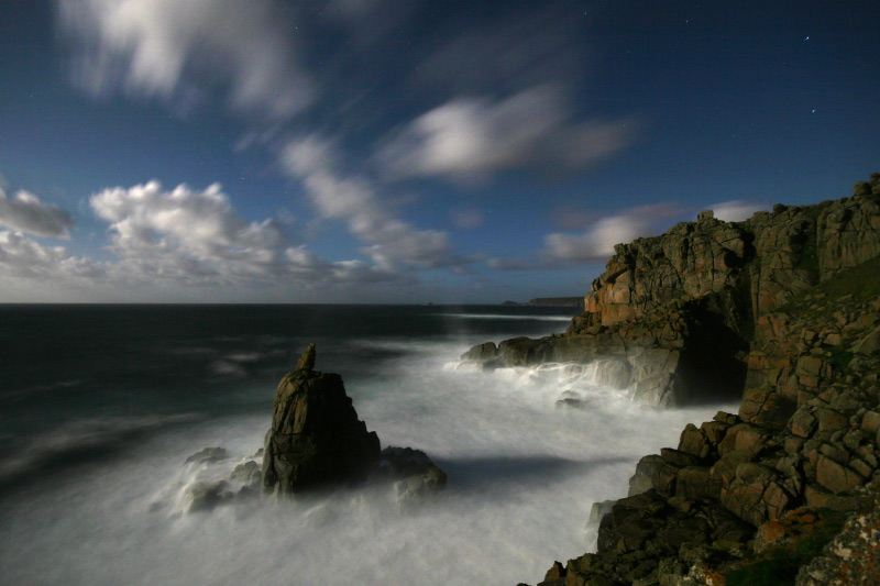 Sennen and Irish Lady Cove. Phot taken by moonlight., 115 kb