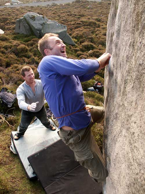 BMC Chief Executive Dave Turnbull a move from victory. Thorn Crag, 59 kb