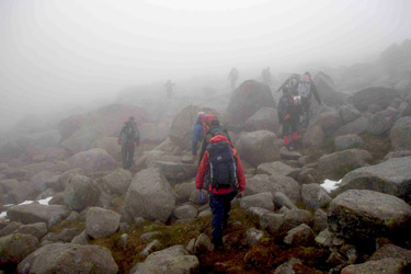 Hiking through the fog at the entrance to Corrie an t�Sneachda. But where are the cliffs?, 29 kb