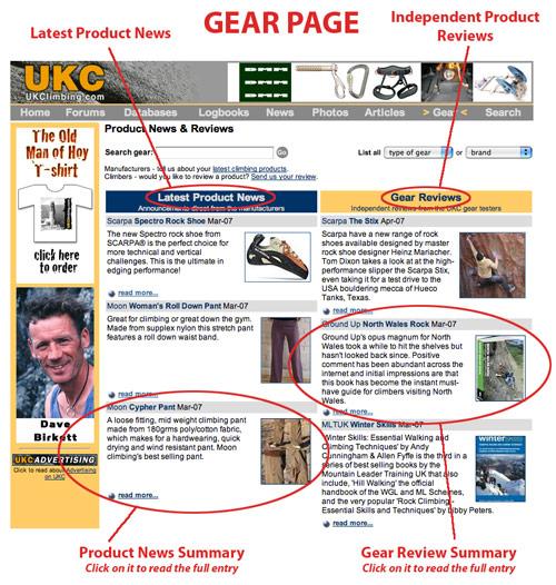 Gear page screen shot, 114 kb