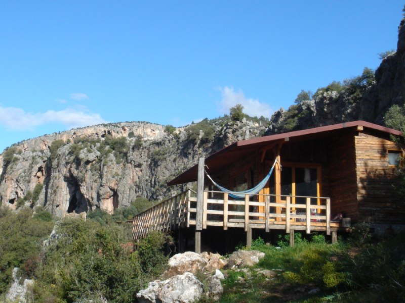 civilisation: campsite chalet and crag, Geyikbayiri, Turkey, 104 kb