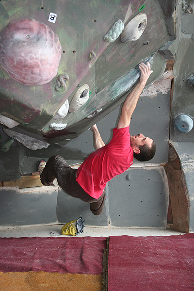 Malcolm Smith tries the bouldering at Altus., 114 kb
