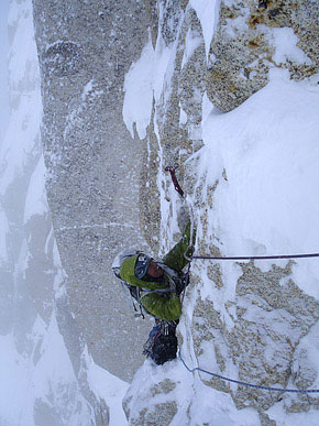 Andrew Houseman on The French Route, North Buttress (a.k.a. Moonflower Buttress) of Alaska's Mount Hunter., 40 kb