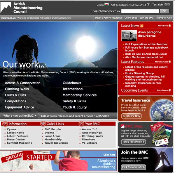 The new BMC website, 65 kb