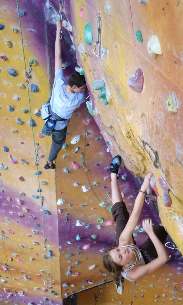 Josh Farrell and Shauna Coxsey training at Kendal Wall, 68 kb