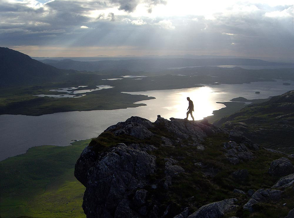 Evening view from the top of Carnmore Crag after finishing Fionn Buttress, 95 kb